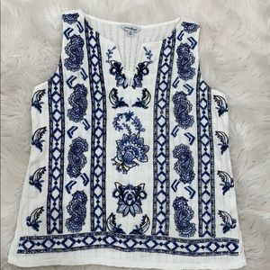 Lucky Brand White with Blue Embroidered Top, XS